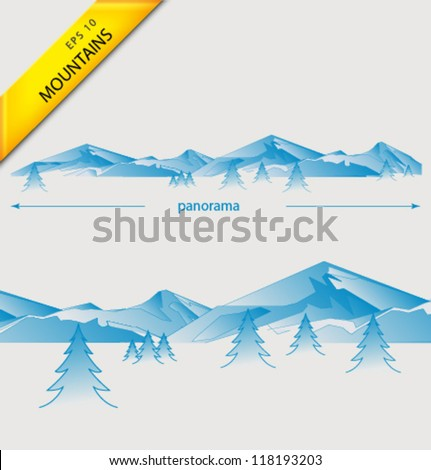 Vector blue mountains - stock vector