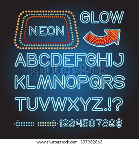 Vector blue neon lamp letters font show banner light sign theather - stock vector