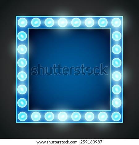 Vector blue neon lights lamp vector frame template.  - stock vector