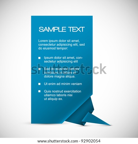 Vector Blue Paper card (template) with origami corner - stock vector