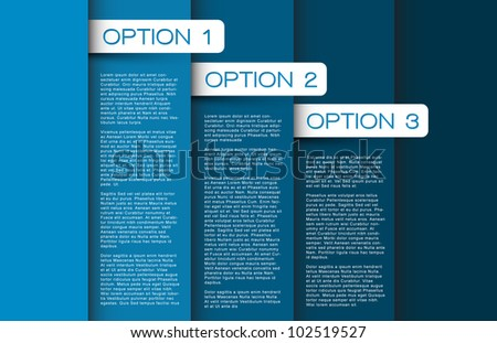 Vector blue Paper options background / product choice or versions - stock vector