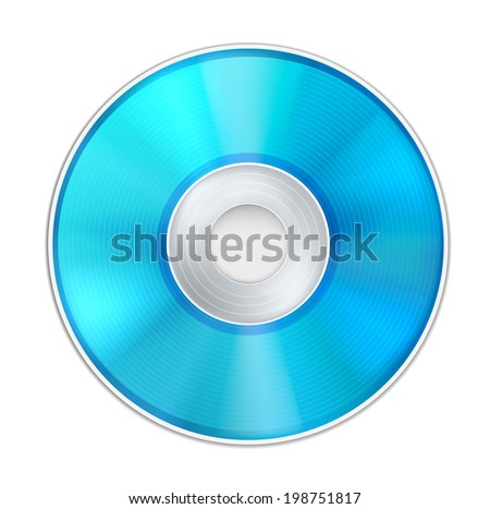 Vector Blue Realistic CD Disk - stock vector