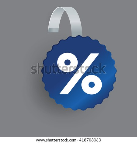 Vector Blue Round Wobbler with Transparent Strip Isolated on a grey Background - stock vector