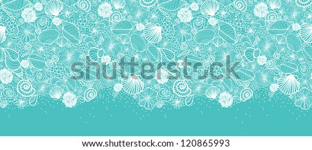 Vector blue seashells line art horizontal seamless pattern ornament background with hand drawn elements. - stock vector