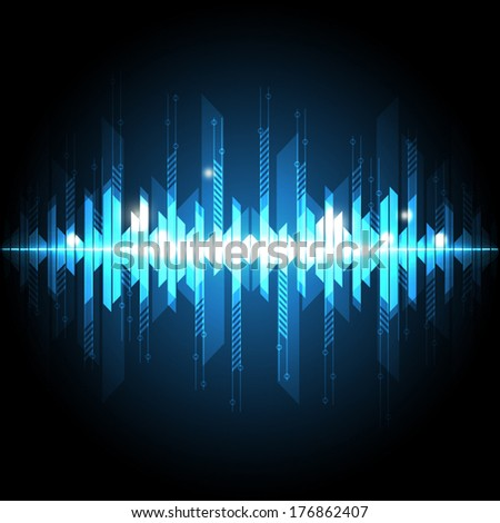 vector blue sound wave technology, pulse background  - stock vector