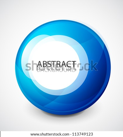 Vector blue sphere with sample text - stock vector