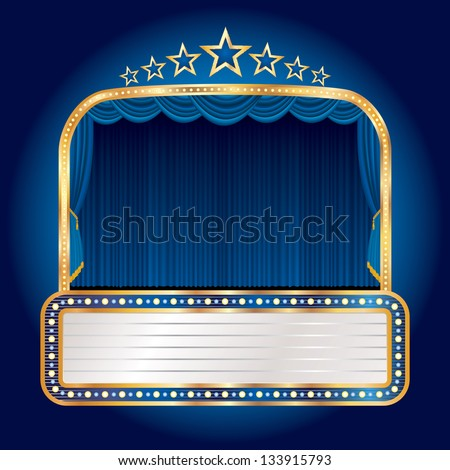 vector blue stage with seven stars and blank billboard - stock vector