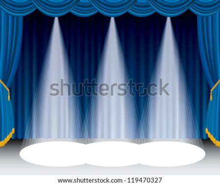 vector blue stage with tree spotlights - stock vector