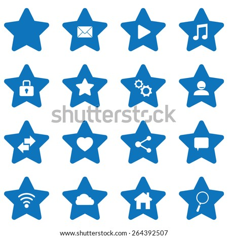 Vector blue stars icons set - stock vector