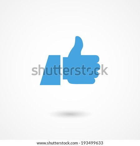 vector blue thumb up icon with shadow - stock vector