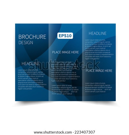Vector blue tri-fold brochure design template with abstract background EPS 10 Tri-Fold Mock up & back Brochure Design - stock vector