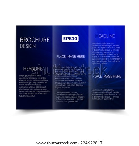 Vector blue tri-fold brochure design template with abstract background with sunbeams EPS10 Tri-Fold Mock up & back Brochure Design - stock vector