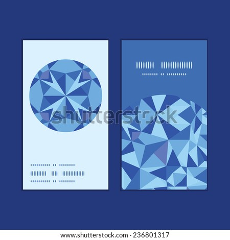 Vector blue triangle texture vertical round frame pattern business cards set - stock vector