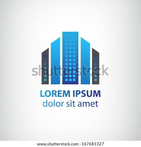 vector blue vertical abstract office building logo, apartment icon with windows isolated - stock vector