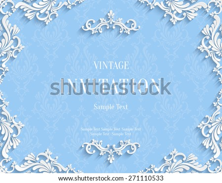 Vector Blue Vintage Background with 3d Floral Damask Pattern Template for Greeting or Invitation Card Design in Paper Cut Style - stock vector