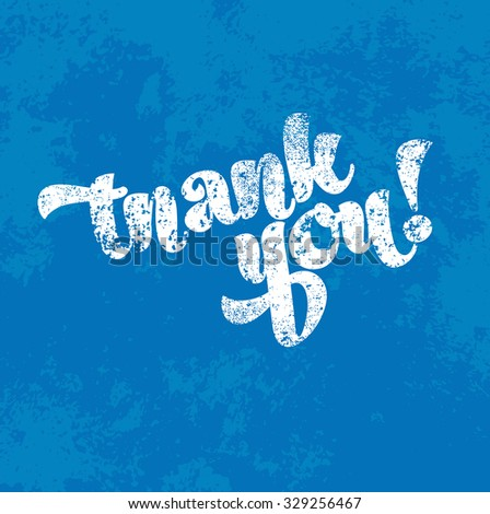 Vector blue vintage grungy worn out card - Thank You - stock vector