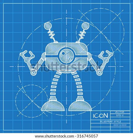 Vector blueprint retro robot toy icon on engineer or architect background.   - stock vector
