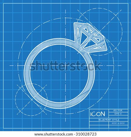Vector blueprint wedding ring icon. Engineer and architect background.  - stock vector