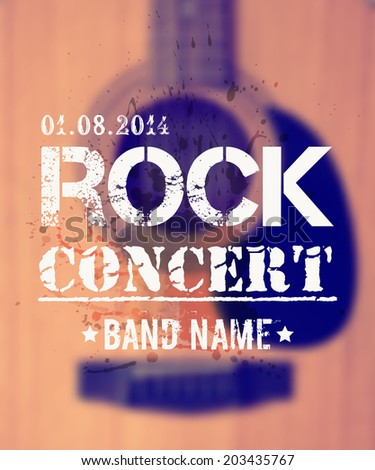 Vector blurred background with acoustic guitar. Rock concert design template with watercolor splatter and place for text. - stock vector