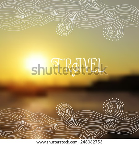 vector blurred background with sea. wave, travel logo - stock vector