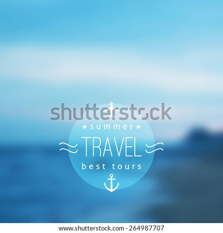 vector blurred evening seascape, travel background with sea - stock vector