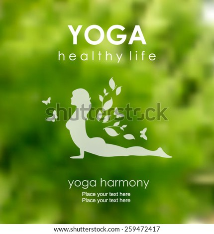 Vector blurred nature background with Silhouette of Young Woman practicing Yoga Posing. Yoga class. Yoga studio. Yoga exercises and recreation. Healthy Lifestyle Concept - stock vector