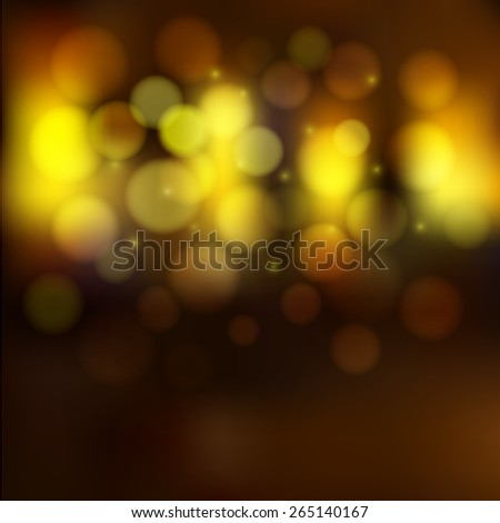 Vector Blurred Night Golden Lights, Bokeh effect and sparkles. Unclear street and shining windows background.  - stock vector