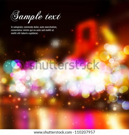 Vector Blurry Lights. Broadway background. - stock vector