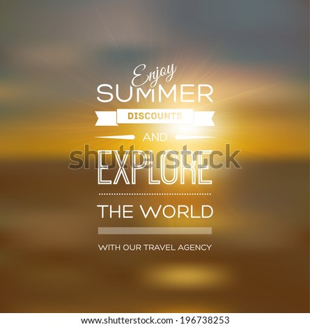 Vector blurry soft summer poster with photographic bokeh background. Smooth unfocused film effect. Enjoy summer discounts and explore the world. Golden sunset light - stock vector
