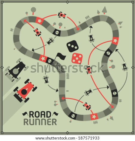 Vector Board Game - Road Runner  - stock vector