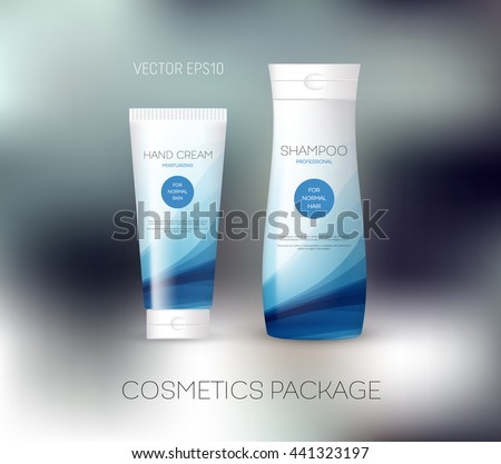 Vector body care cosmetics design concept. Tube cream and shampoo bottle. Packaging template. Blue tones - stock vector