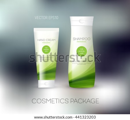 Vector body care cosmetics design concept. Tube cream and shampoo bottle. Packaging template. Green tones - stock vector