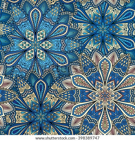 Vector boho chic flower seamless pattern. Elegant floral background for wallpaper, gift paper, fabric print, furniture, curtains. Mandala design element. Unusual flourish ornament. Blue, brown, beige - stock vector