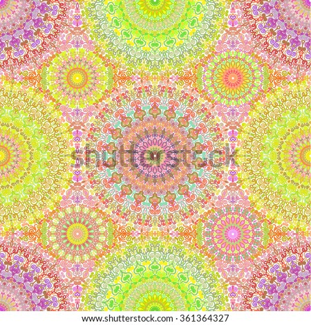 Vector boho chic seamless pattern. Colorful oriental background for wallpaper, gift paper, fabric print, furniture. Mandala design element. Unusual flourish line ornament. Abstract vibrant flowers. - stock vector