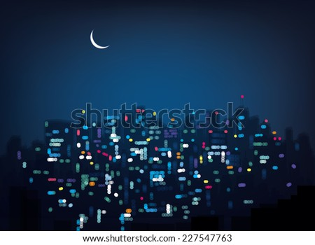 Vector bokeh night city background. - stock vector