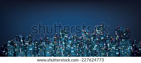 Vector bokeh night city background. - stock vector