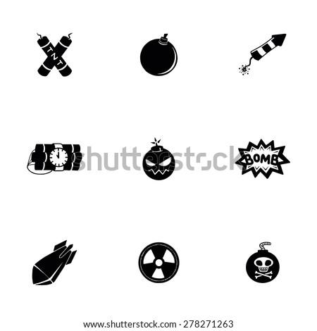 Vector Bomb icon set on white background - stock vector