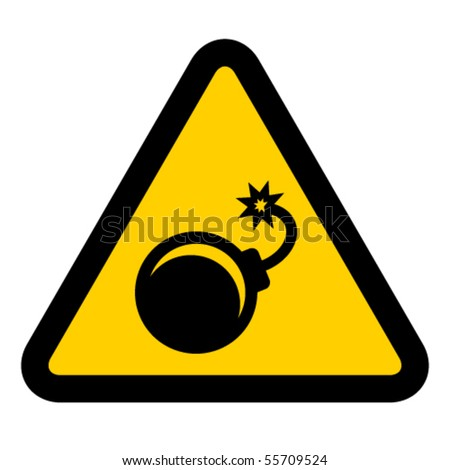 vector bomb warning sign - stock vector