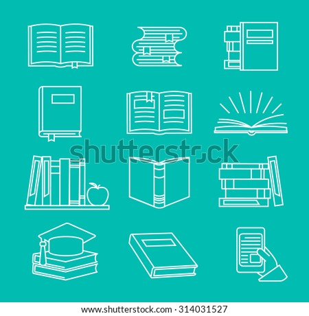 Vector book icons and signs in mono line style.  Outline books set, vector illustration - stock vector
