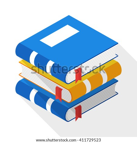 Vector Books icon in flat style with long shadow on white background - stock vector