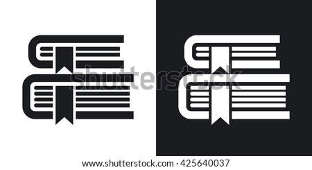 Vector Books icon. Two-tone version of Books simple icon on black and white background - stock vector