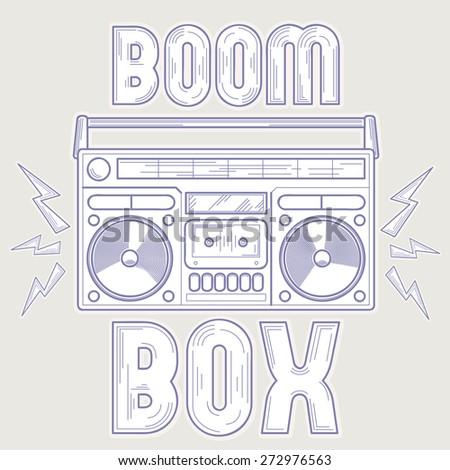 Vector boom box line art music design - stock vector
