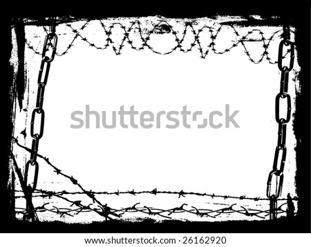 Vector Border Graphic with grunge elements and black chains and Barbed Wire - stock vector