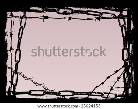 Vector Border Graphic with grunge elements black chains and barbed wire - stock vector