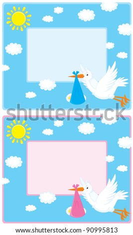 Vector border with a flying white stork that carries a newborn baby to his parents - stock vector