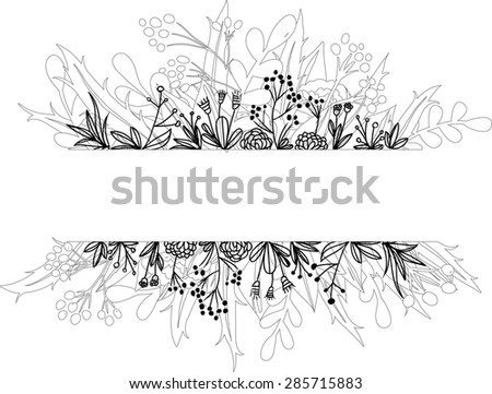 Vector botanical doodle banner in black and white - stock vector