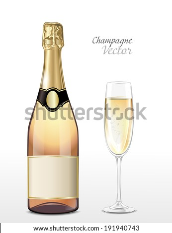 Vector bottle of pink champagne and full champagne glass - stock vector
