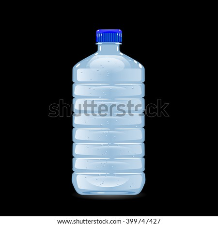 Vector bottle with clean blue water - stock vector