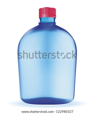 Vector bottle with clean blue water. EPS-10 - stock vector
