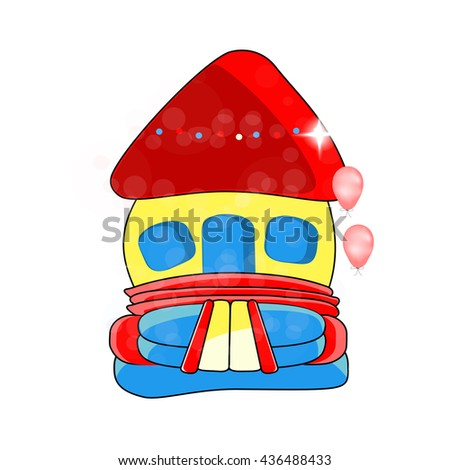 Vector bouncy castle - children's entertainment, , inflatable toy - stock vector
